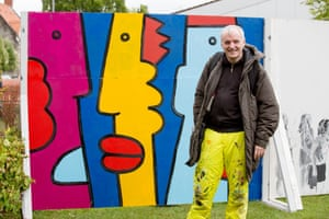 French artist, Thierry Noir, paints a special mural to commemorate the fall of the Berlin Wall at the Bristol festival. Noir is credited as the first artist to paint the original Berlin Wall, in 1984, when he used bright, vivid colours on the 3-metre high wall. He says his aim was not to embellish it but to demystify it