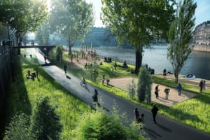 An artist's impression of how the pedestrianised right bank of the Seine would look
