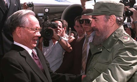 General Le Duc Anh, left, is welcomed to Cuba by Fidel Castrol in 1995.