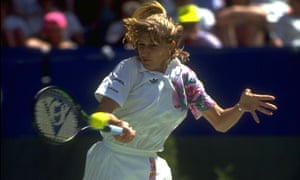 Steffi Graf hits one of those famous forehands