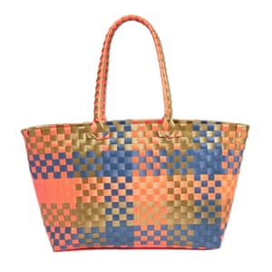 blue, green, orange woven beach bag Asos