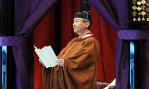 Japanese Emperor Naruhito delivers a speech proclaiming his enthronement at the Imperial Palace in Tokyo.
