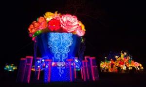 A light sculpture depicting a bouquet of flowers
