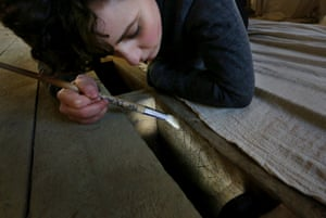 Archaeologists examine the markings at Knole in Kent.