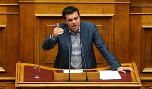 Greek Prime Minister Alexis Tsipras delivers his speech as he attends a parliamentary session in Athens, Greece, July 10, 2015. Greek Prime Minister Alexis Tsipras appealed to his party's lawmakers on Friday to back a tough reforms package after abruptly offering last-minute concessions to try to save the country from financial meltdown. REUTERS/Alkis Konstantinidis TPX IMAGES OF THE DAY