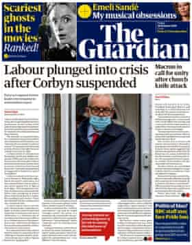 Guardian front page, Friday 30 October
