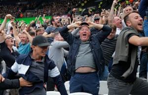 Tottenham fans celebrate a goal at West Ham in 2017.