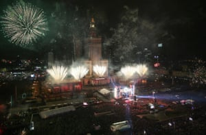 New Year's fireworks in Warsaw