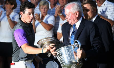 Rory McIlroy catches trophy