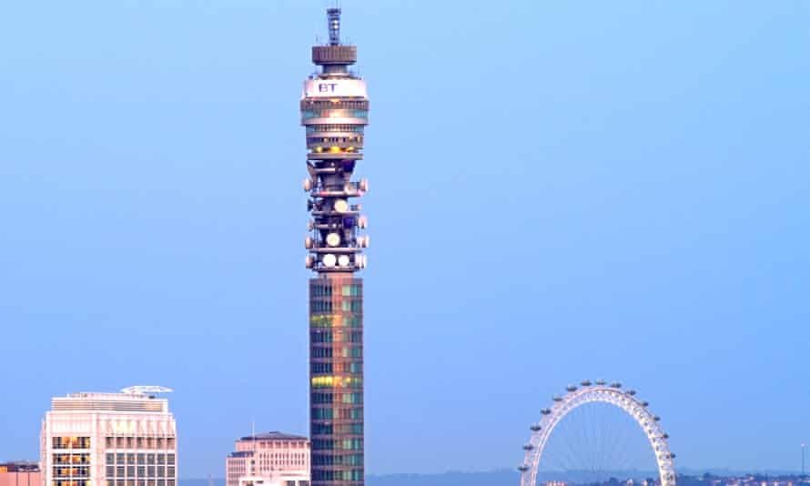 the BT tower in London set across a bright blue sky