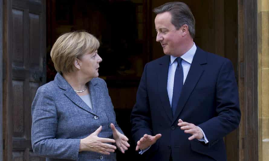 David Cameron with the German chancellor, Angela Merkel, at Chequers