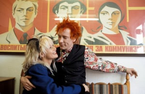 1986<br>Johnny Rotten with his wife Nora Forster