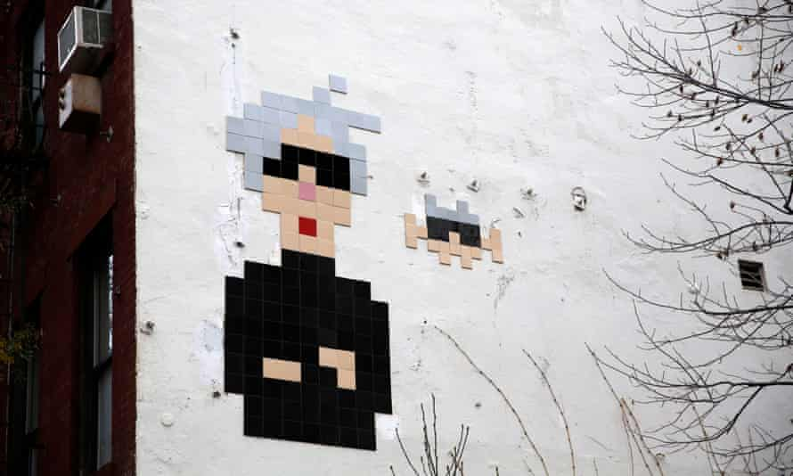 An Andy Warhol mosaic by the French street artist on the side of the Standard hotel on the Bowery in New York.