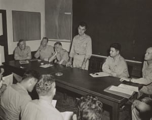 A US military personnel briefing in Guam before the first atomic bomb was dropped, August 1945.