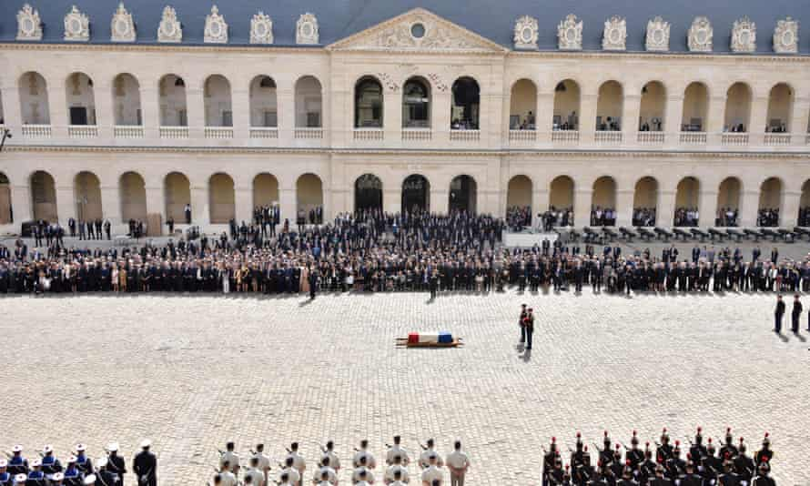 The flag-draped coffin of Simone Veil during a funeral ceremony in the courtyard of the Invalides in Paris on Wednesday.