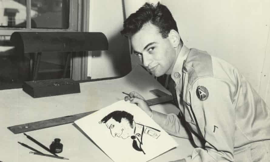 Paul Peter Porges with self-portrait, during his time in the US army, 1951-52