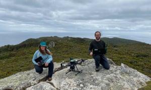 Debbie Saunders and Josh Bobruk from Wildlife Drones on Whenua Hou / Codfish Island, New Zealand