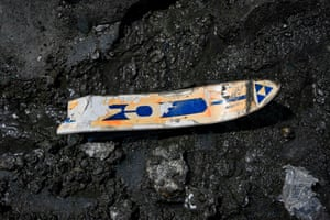 An old broken ski found on the Mer de Glace glacier after the melting of ice