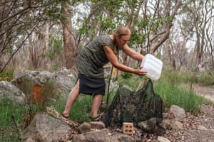 Local woman Maree Jones saves all her shower and washing machine water to use on her garden