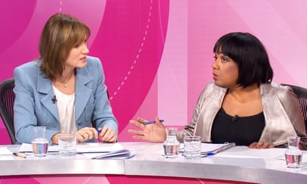 Fiona Bruce and Diane Abbott on BBC Question Time.