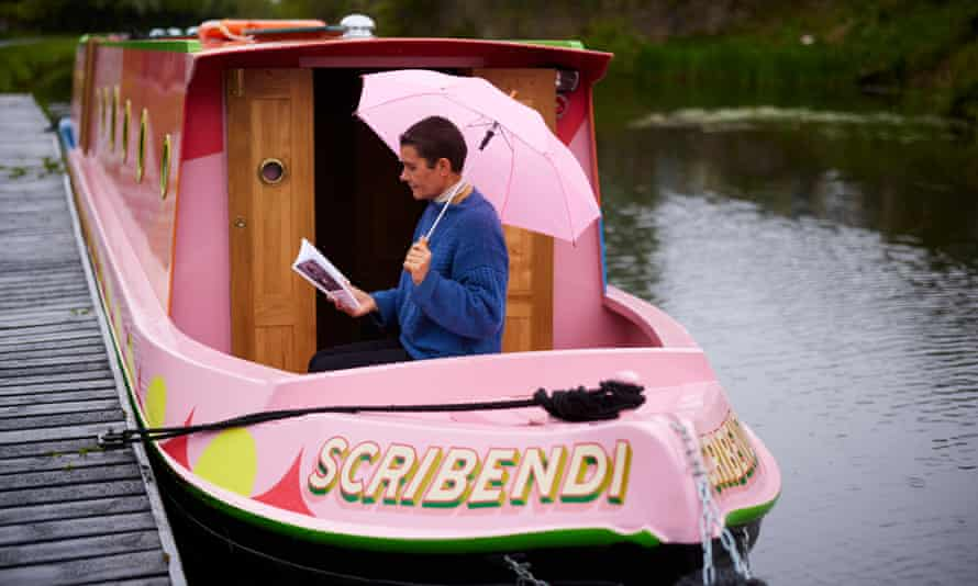 Artist Heather Peak on the pink narrowboat