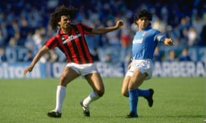 Napoli's Diego Maradona alongside Milan's Ruud Gullit in a May 1988 Serie A match.