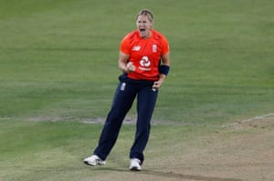 Katherine Brunt of England celebrates the wicket of Rachael Haynes of Australia.