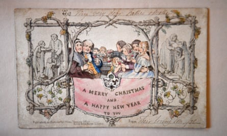 The world's first printed Christmas card is displayed at the Dickens House Museum in London.