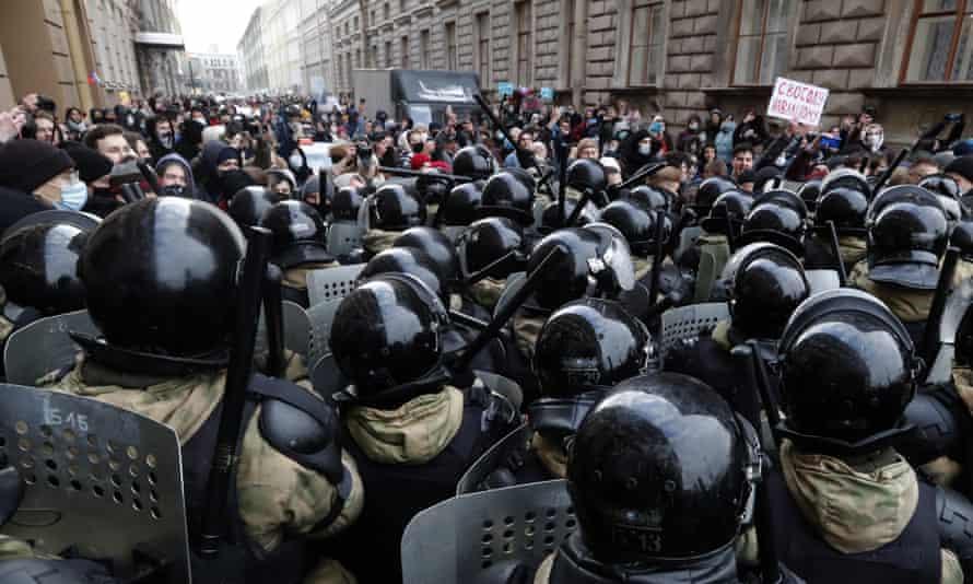 Protesters in St Petersburg
