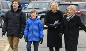 Kirsten Gillibrand with her sons, Theodore, left, Henry, second from left, and her mother Polly Rutnik on Wednesday, in Brunswick, NY.