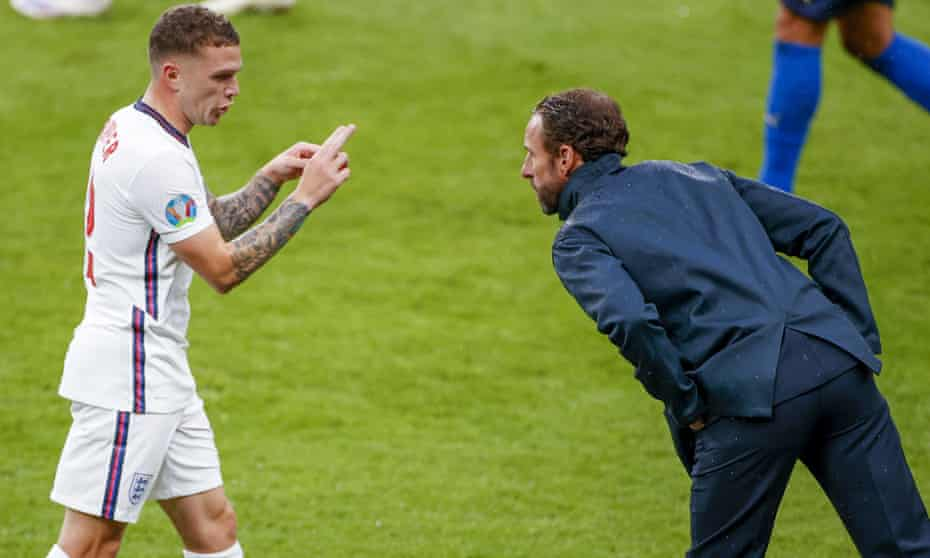 Gareth Southgate talks to Kieran Trippier during the Euro 2020 final at Wembley. He removed the Atlético Madrid man and reverted to a back four when Italy equalised.