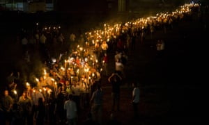 Unite the Right march on the University of Virginia campus.