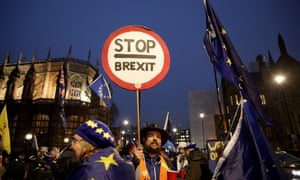 Remain and Leave campaigners outside the Houses of Parliament in London on a day when MPs voted on a series of amendments to Theresa May's statement on the defeat of her Brexit bill.