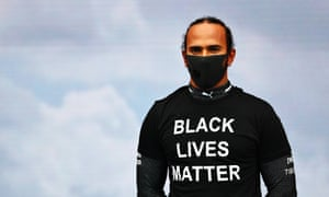 Lewis Hamilton wearing a Black Lives Matter T-shirt prior to the race in Budapest.