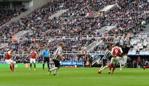 Granit Xhaka's free-kick flies over the Newcastle wall and into the net to give Arsenal the lead.