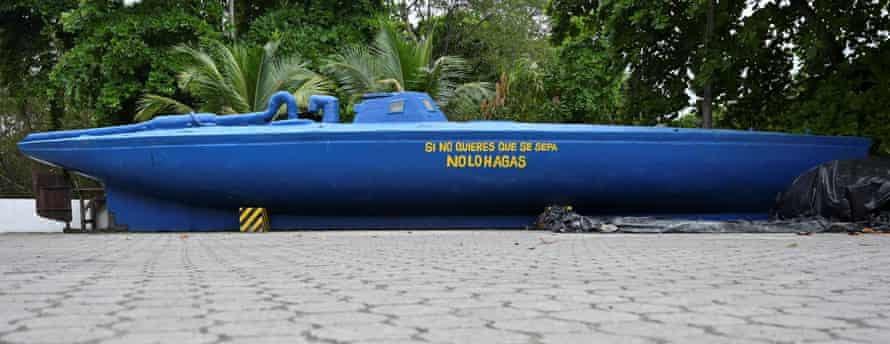 A seized homemade narco-submarine