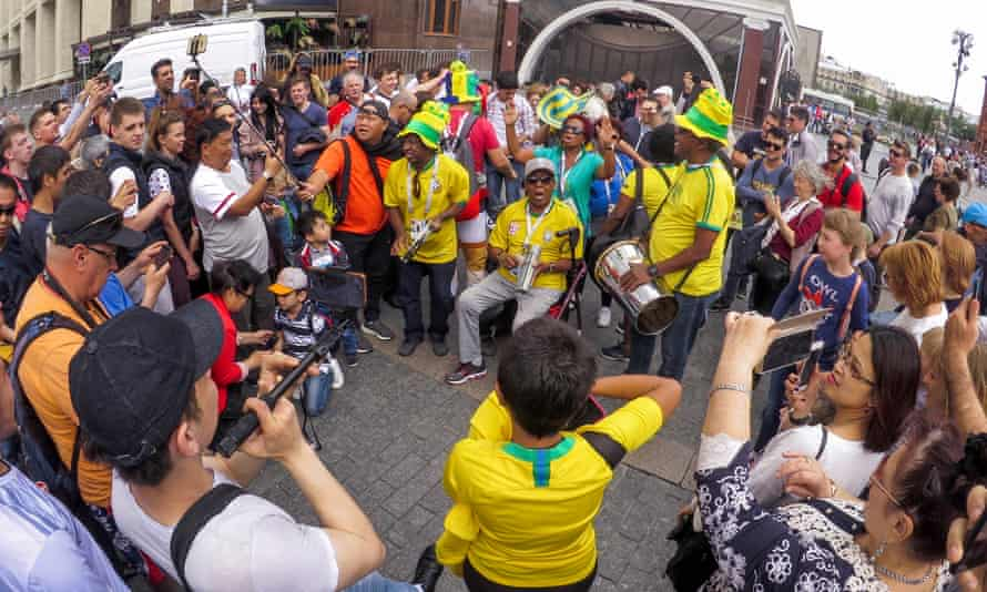 Brazil fans playing music in Moscow