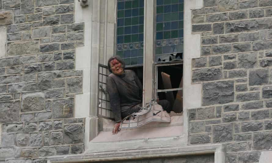 Sue Spigel managed to get herself to the cathedral's window