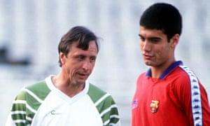 Pep Guardiola and Johan Cruyff
