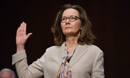 CIA director Gina Haspel takes the oath during her confirmation hearing in 2018.