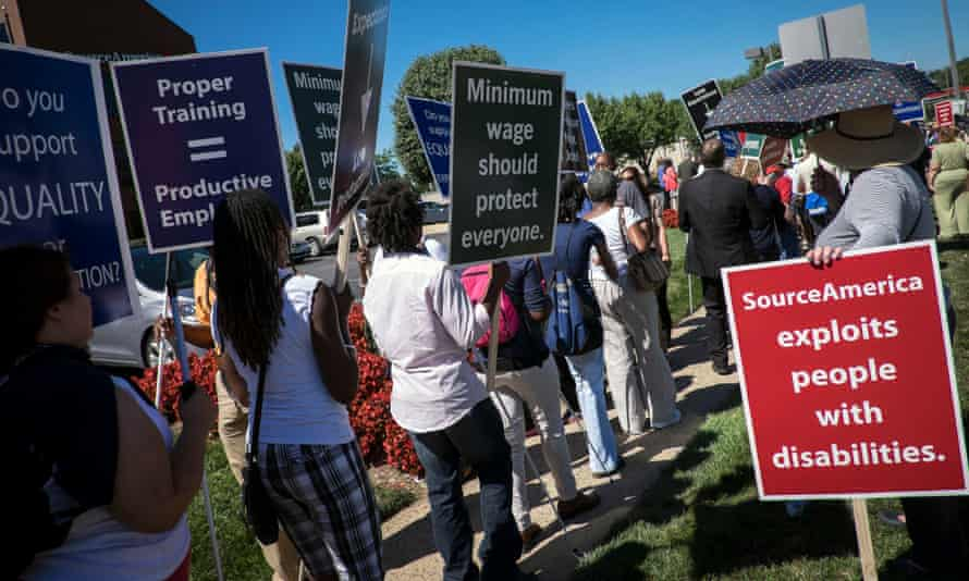 US protest against non-profit organisations paying disabled workers less than the minimum wage.