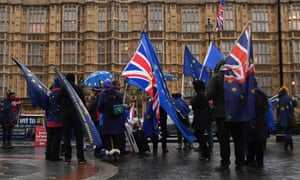 Anti-Brexit protesters outside the Houses of Parliament on 20 November.