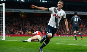 Tottenham Hotspur's Harry Kane celebrates after scoring against Arsenal in the Premier League game.