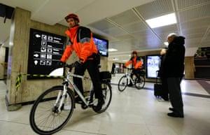 Bike-mounted policemen patrol at Brussels Central Station