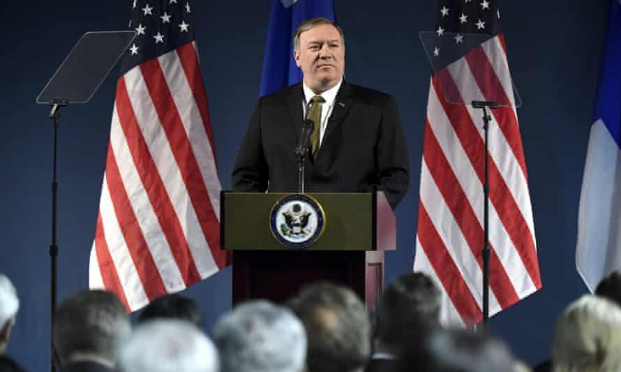 Secretary of state Mike Pompeo giving a speech to delegates from the Arctic nations in Rovaniemi in northern Finland on Monday.
