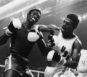 Leon Spinks lets a right fly at the face of Cuba's Sixto Soria in an Olympic light heavyweight fight in Montreal in 1976. Spinks won the gold medal.