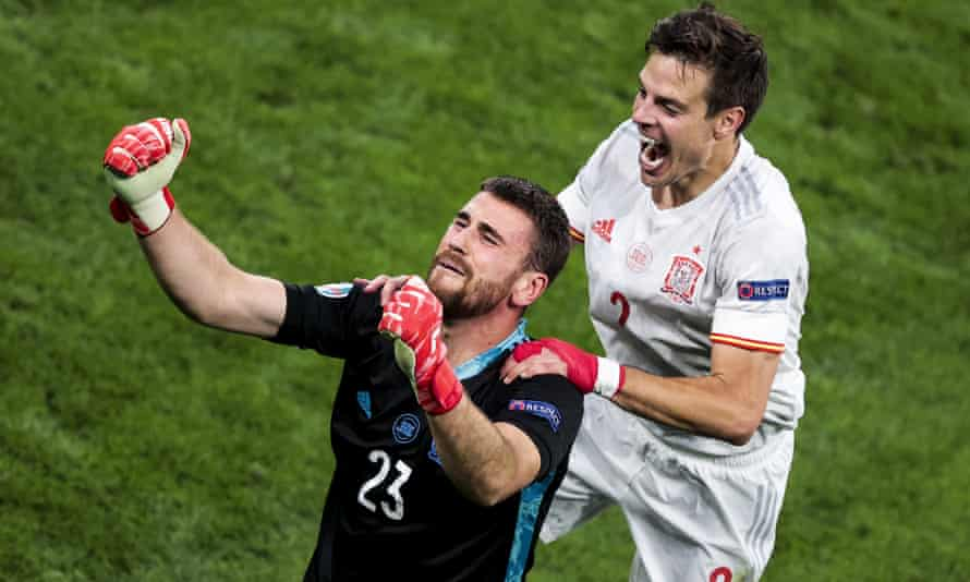Unai Simón is joined by César Azpilicueta after Spain sealed their place in the Euro 2020 semi-finals with the penalty shootout victory over Switzerland.