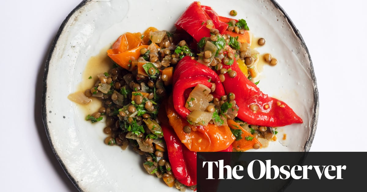 Nigel Slater's recipe for roast peppers, tomatoes and lentils