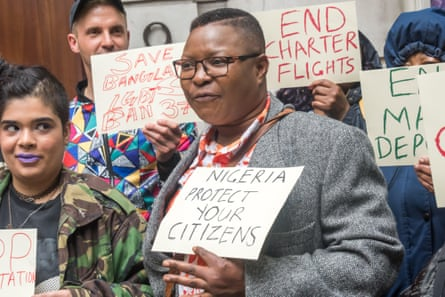 Aderonke Apata protests outside the Nigerian high commission in May 2017.