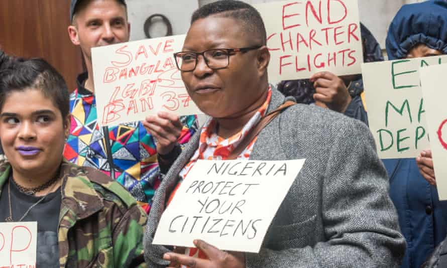 Protest against deportation charter flights at the Nigerian high commission.